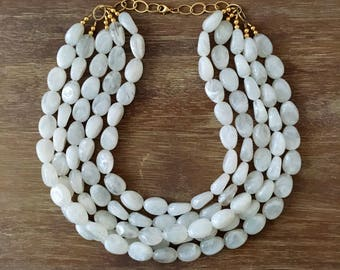 Statement Necklace Bridesmaid Jewelry JACKIE O Bright White  NECKLACE  Wedding Jewelry Statement Jewlery White Necklace