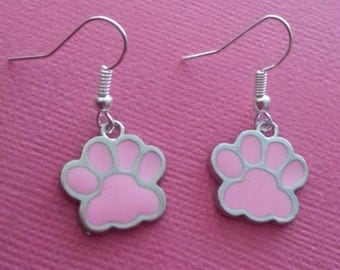 Silver and Pink Enamel Kitty Paw Earrings