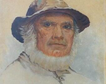 vintage oil painting of sea fisherman signed ca.1894