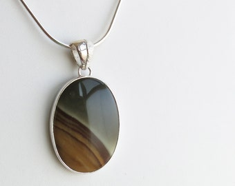 Sterling silver and picture jasper pendant - natural stone