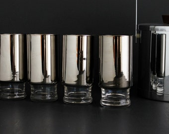 Vintage Mid Century Queens Lusterware Silver Tumbler Glassware 12 Ounce Highball set of four 4 Glasses