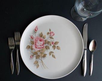 Vintage Melmac Dinnerware Dinner Plates Pink Roses 8201-10 Set Of 4 Four