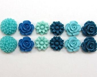12 pcs Resin Flower Cabochons Assorted Sizes Sampler Pack - Rainy Colors (12-15mm size range)