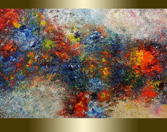 Acrylic painting abstract blue red.