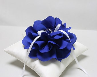 Wedding ring pillow - ring bearer pillow, royal blue ring pillow, bridal ring pillow, wedding ceremony ring pillow, ring cushion
