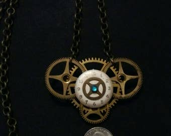 Clock Parts. Gothic STEAMPUNK JEWELRY Watch/Gear/Skull Pin/Brooch/Pendant/Hat Pin/Necklace. ALTERED Art Jewelry