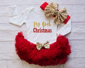 Girls Christmas Clothing..My First Christmas Bodysuit...Baby's First Christmas Outfit..Baby Girl Christmas Clothing...Red Christmas Bodysuit