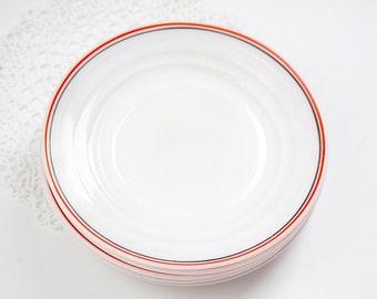 6 Hazel Atlas Moderntone Platonite Red and Black Stripe on White Plates