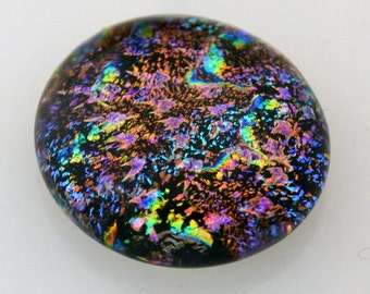 Vibrant Dichroic Cabochon, Multiple Colors, Jewelry Cabochon,  21 mm x 22 mm