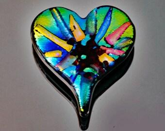 Dichroic Heart Cabochon, Dichroic Cabochon, Dichroic Glass Tile, Decorative Heart Tile, Accent Tile, Handmade Tile
