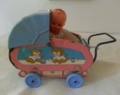 Vintage Metal Doll Buggy and Dolly