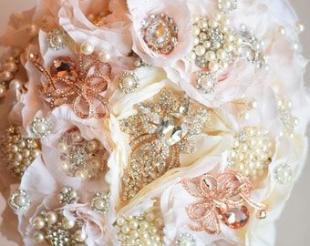Pink and Gold Brooch Bouquet Ready to Ship English Garden Bouquet Bridal bouquet bride