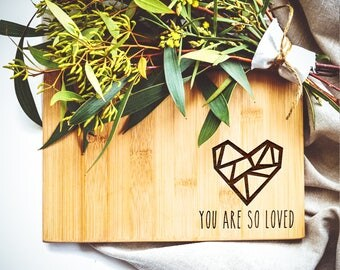 Mini Bamboo Cutting Board, You are so loved, Engagement Gift