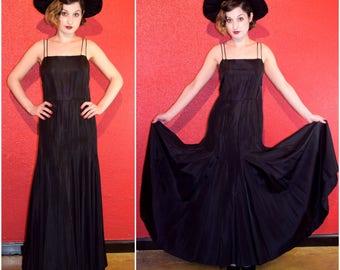 1930s Black Gown Gored Skirt Spaghetti Straps XS Small