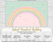 Rainbow Backdrop - YOU PRINT Printable PDF Banner Pastel Buffet Table Birthday Gold Pink Mint Clouds 3x5 4x6 4x8 2x3 20x30