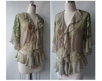 80s Silk Burnout Shrug • Vintage Half Sleeve Coverup • Womens M L Petite • Made in California USA