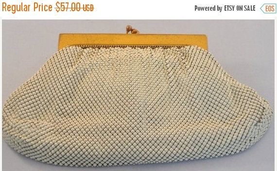 ON SALE Whiting and Davis Vintage White Mesh Purse Clutch- Amazing