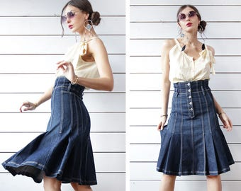 Vintage blue denim flared pleated over the knee length high waist midi skirt XS