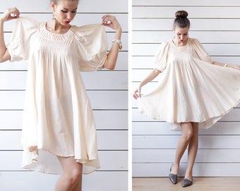 Vintage blush pink thin pleated cotton boxy extra full balloon sleeve tunic midi dress S