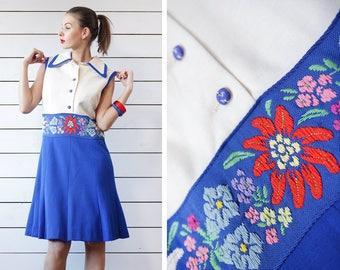 French vintage blue white floral embroidery waist sleeveless knee length midi dress M