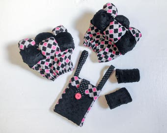 Crutch Bubbles Crutch Pads and Purse Set in Black Minky with White and Pink Cotton  -  Ready to Ship Crutch Covers