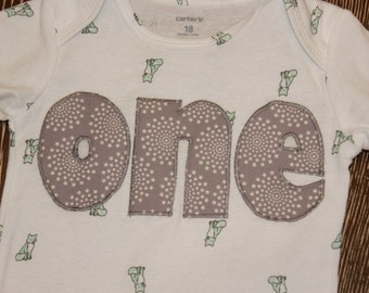 one, Birthday onsie, Gray, Foxes, stars, short sleeve ready to ship bodysuit with - 18 months, Ready to SHIP