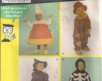 Simplicity Sewing Pattern 4467: Toddler's Skeleton, Witch, Hobo, Candy Corn Costumes (0.5-4)