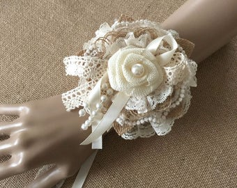 Rustic wrist corsage, handmade burlap and lace flower wrist corsage, wedding, bridesmaids, prom