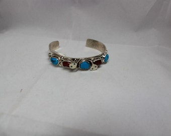 Zuni Sterling Silver Turquoise and Coral Snake Bracelet