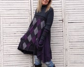 Long Sweater Tunic L/XL, Upcycled Clothing, Charcoal and Lavender, Argyle Sweater, Upcycled Turtle-neck Sweater, Arm-warmers