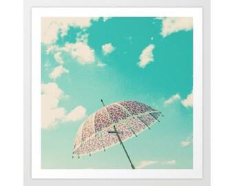 Beach art, beach photography, beach umbrella art, beach umbrella wall art, turquoise beach prints, bathroom wall art, turquoise bathroom art