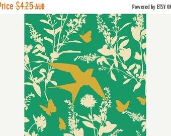 40% OFF SALE Joel Dewberry Fabric - 1 Fat Quarter Bungalow -  Swallow Study in Emerald / Free Spirit Fabric