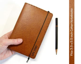 Whiskey Brown Leather Cahier Cover w/ Engraved Personalization - Moleskine Cover / Field Notes Cover - Fits 3.5 x 5.5 inch Cahier Notebooks