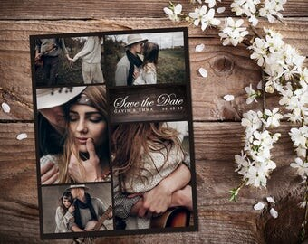 Save The Date Magnet, Card or Postcard . Wood 5 pictures font options