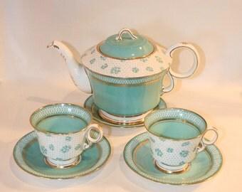 English Paladin Tea Set | China Fenton - E. Hughes & Co Staffordshire England | Tea pot with 2 cups and saucers | Light Blue Floral Tea Set