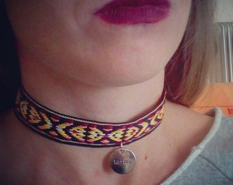 Choker necklace, aztec prints, tribal ribbon, ethnic style, karma pendant, silver pendant, contemporary jewelry, ooak, high fashion