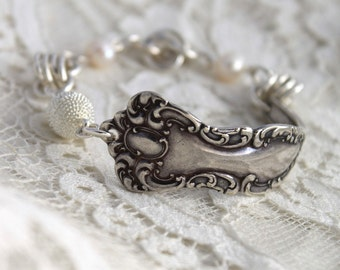 Antique Spoon Bracelet w/PEARLS Silverware Jewelry - Silver Plate Magnetic Clasp - Oxford 1901 - Antique Spoon - 7.5 inch Wrist
