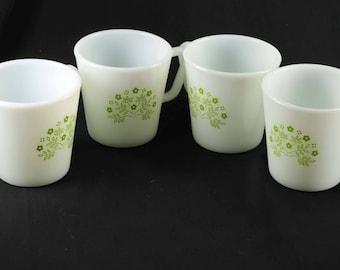 "Pyrex Summer Impressions Honeydew Set of 4 Mugs "" D "" Handle"