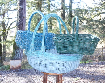 French Market Basket Lot Rustic Primitive Farmhouse Wicker Tote Vintage Willow Handled Gathering Basket Lot 3 Cottage Garden Collection