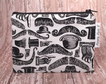 Tossed Mustaches, Gentry Hats, and Pointed Hands coin purse, coin pouch, change purse, small zipper pouch, gadget case, passport holder