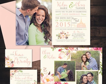 Floral Photo Wedding Invitation - Custom Wedding Invitation Set - pretty flowers with beautiful photo arrangements, LDS Wedding Invitation