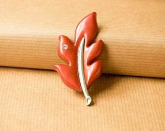 Bronze Leaf Brooch Plastic