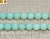 15 inch strand of Blue Malaysia Jade matte round beads 6mm 8mm 10mm 12mm & 14mm for choose