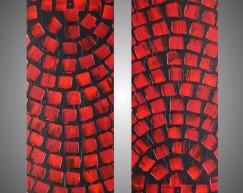 Acrylic Painting Abstract Paintings Wall Art Wall Deco Home Decor Modern Grey Red Paintings 2 Paintings á 42 x 10 Made to Order by ilonka