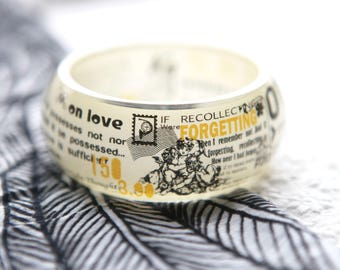 Chunky resin bangle with embedded vintage art