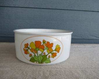 Vintage Vegetable/ Salad Bowl, German Porcelain Bowl with Mod Floral Design, Thomas Rosenthal, Germany