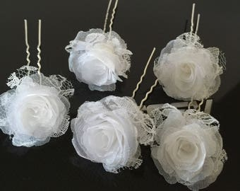 Bridal flower hair pin