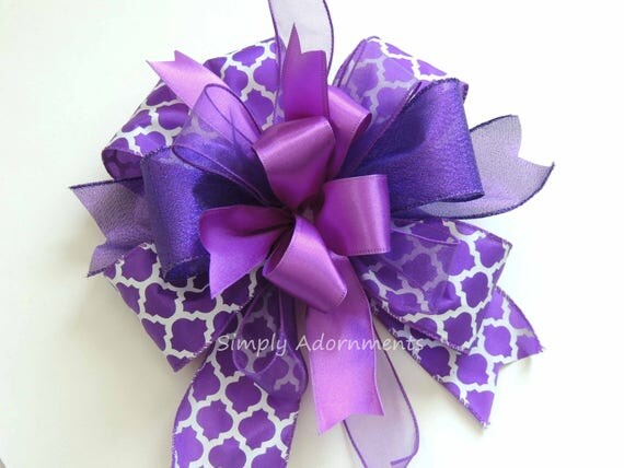 Purple Wired Ribbon Wreath Bow Purple Spring Swag Bow Funky Purple Lantern bow Purple Birthday Party decor Purple Ribbon Gift Basket Bow