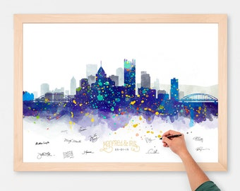 Wedding Guest Book Alternative Watercolor Pittsburgh Skyline Poster -  Add Quote, Date - Wedding Decor - Personalized Guest Book