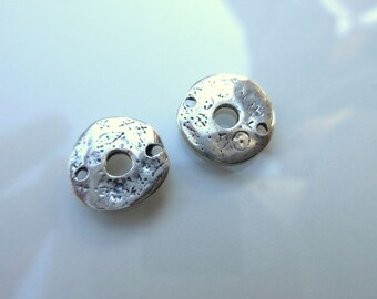 2pc Sterling Silver 925 disc connector 12mm round artisan style hammered finish rustic silver connector bracelet connector